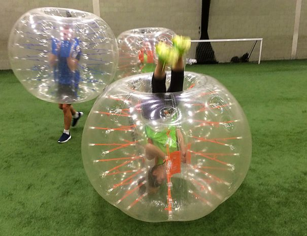 Bubble Footie upside down in Manchester