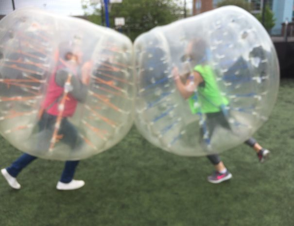 Hen goes head to head in Zorb football