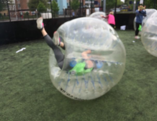 Hen goes for a roll in zorb football