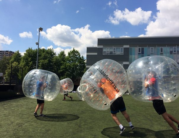 Stag going down in Bubble football