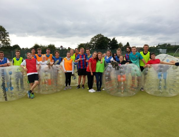 College Students Bubble football